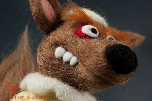 Run Red Run Needle Felted Red Riding Hood Wolf