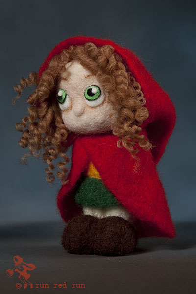 Run Red Run Needle Felted Red Riding Hood