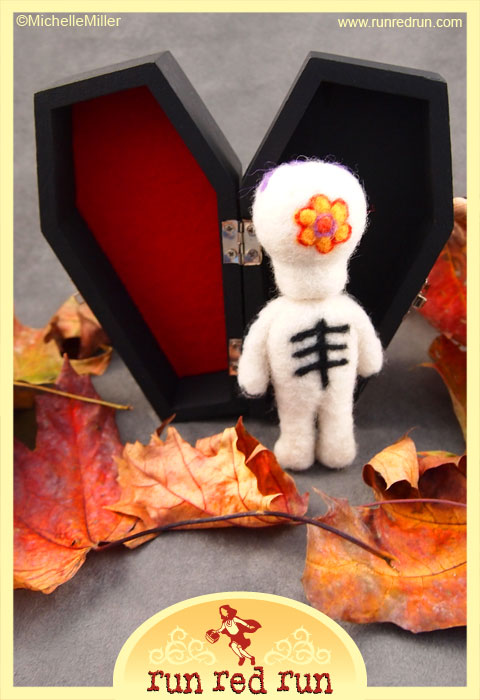 Run Red Run Needle Felted Day of the Dead Skeleton