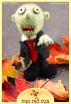 Run Red Run needle felted walking dead zombie