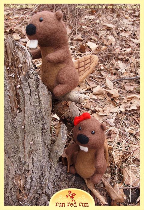 Run Red Run Needle Felted Beavers