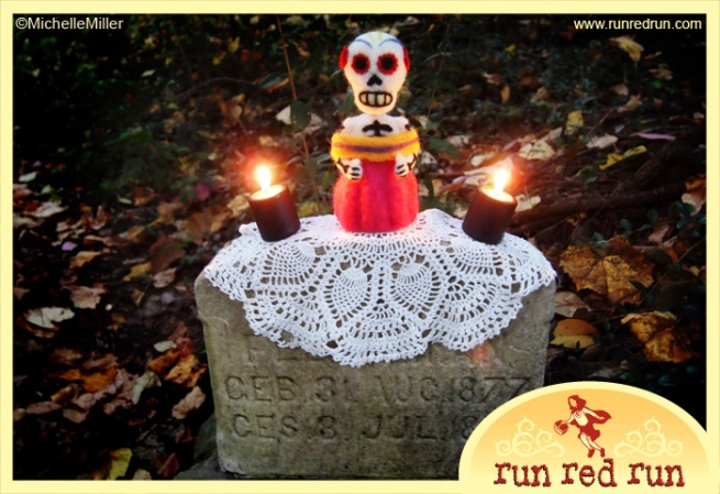 Run Red Run Day of the Dead needle felted Dia de los Muertos skeleton