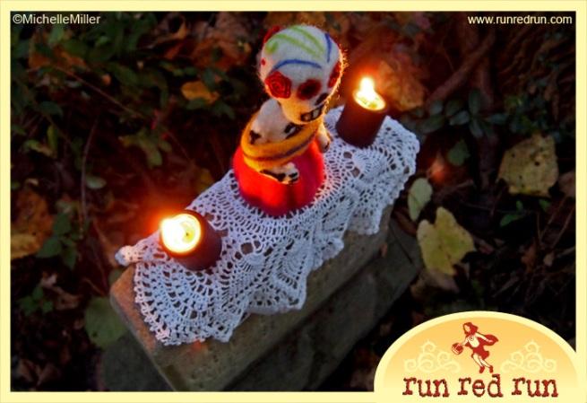Run Red Run Day of the Dead needle felted Dia de los Muertos skeleton