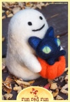 Run Red Run Needle Felt Ghost Cat