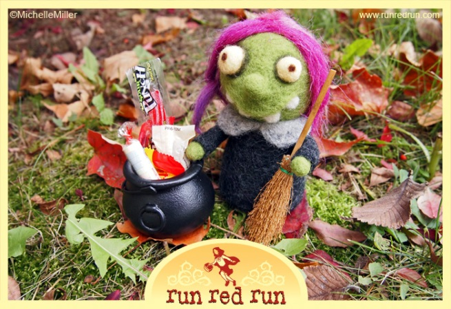 Run Red Run Needle Felted Halloween Witch