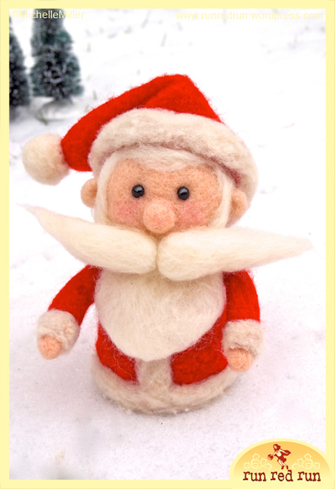 Run Red Run Needle Felted Santa Claus
