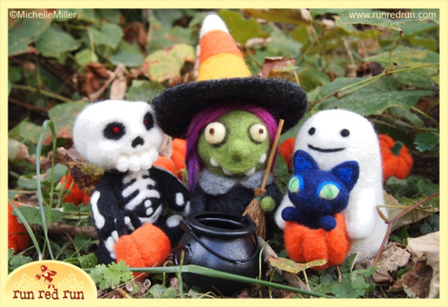 Run Red Run Needle Felted Skeleton Witch Ghost