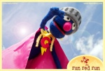 Run Red Run Needle Felted Super Grover Flying