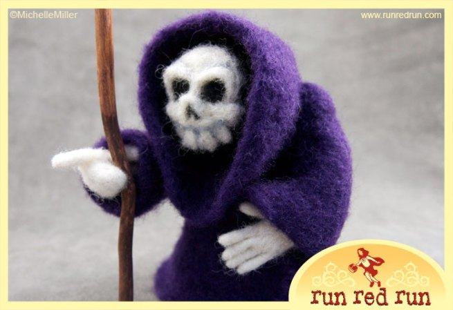 Run Red Run Needle Felted Grim Reaper Death