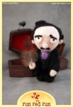Run Red Run Needle Felted Edgar Allan Poe Coffin Raven
