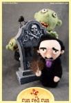 Run Red Run Needle Felted Edgar Allan Poe Headstone Zombies