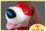 Run Red Run Needle Felted superhero puppy