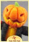 Run Red Run Needle Felted Pumpkin head Scarecrow