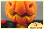 Run Red Run Needle Felted Pumpkin head Scarecrow