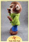 Run Red Run Needle Felted Wolfman werewolf