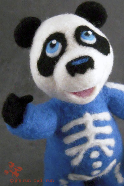 Run Red Run Needle Felted Skeleton Panda