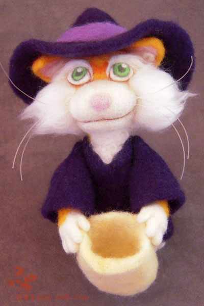 Run Red Run Needle Felted witch kitty cat