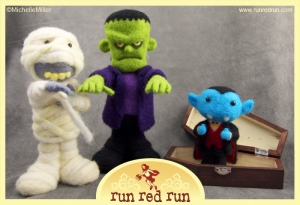 Run Red Run Needle Felted Monsters