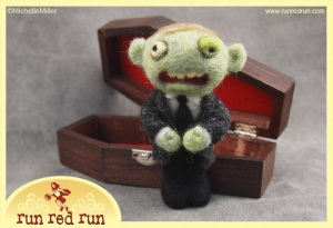 Run Red Run Needle Felted Zombie Coffin