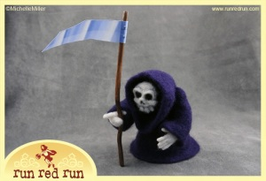Run Red Run Needle Felted Grim Reaper