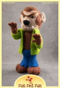 Run Red Run Needle Felted Wolfman