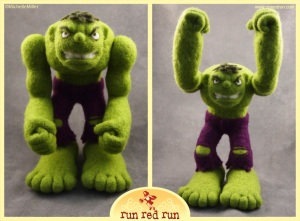 Run Red Run Needle Felted Incredible Hulk