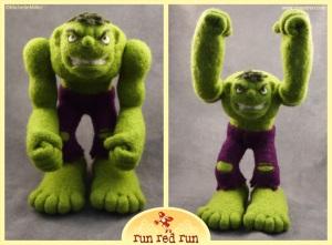 Run Red Run Needle Felted Incredible Hulk