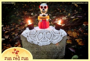 Run Red Run Day of the Dead Dia de los Muertos Needle Felt Needle Felted