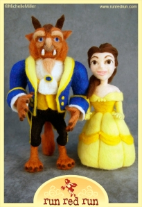 Run Red Run Needle Felted Beauty and the Beast Belle