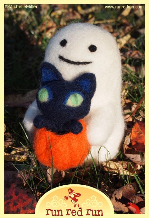 Run Red Run Needle Felted Ghost Cat Pumpkin