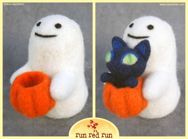 Run Red Run Needle Felted Ghost Cat Pumpkin