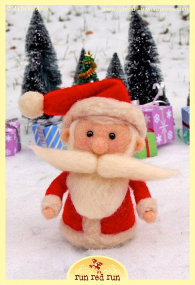 Run Red Run Needle Felted Santa
