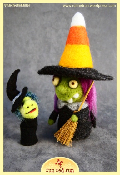 Run Red Run needle felted witch Marina witch