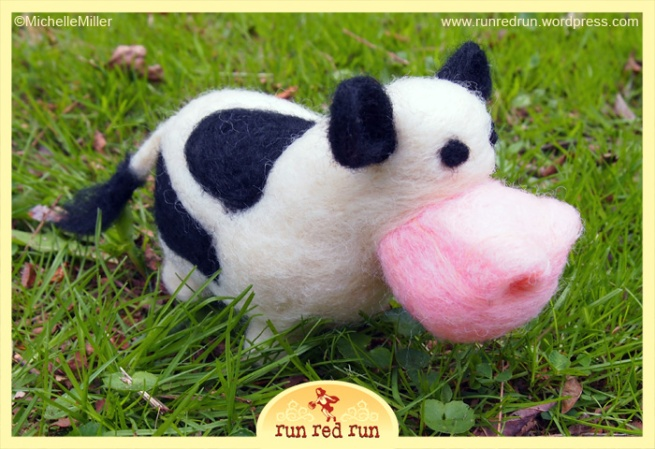 Run Red Run Needle Felted Cow