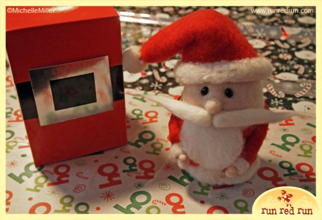 Run Red Run Needle Felted Santa w Box