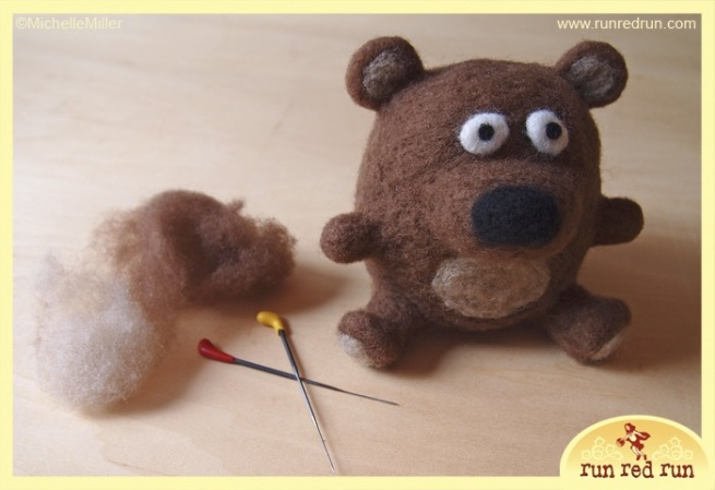 Run Red Run Needle Felted Bear