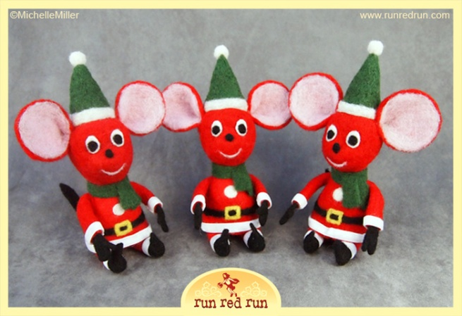 Run Red Run Needle Felted Christmas Mouse