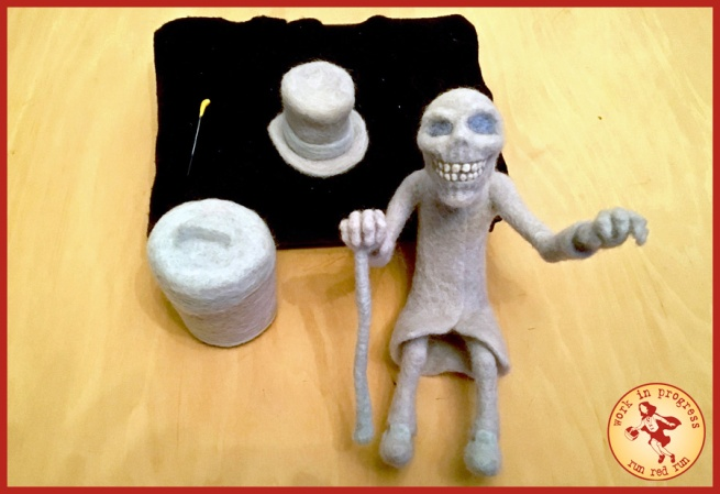 Run Red Run Needle Felted Hatbox Ghost WIP
