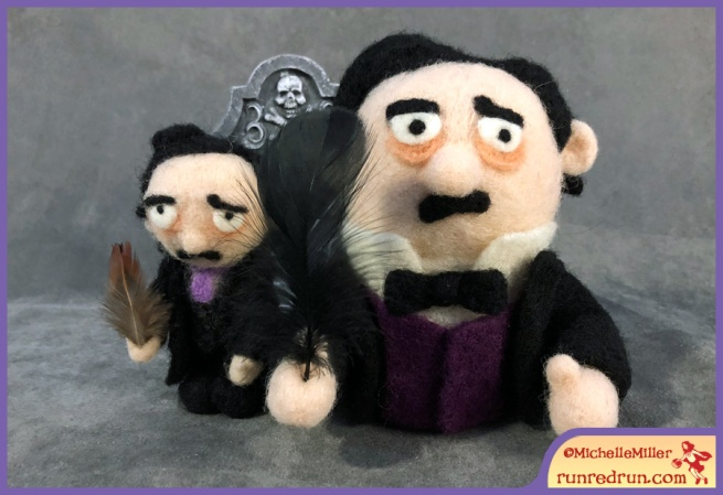 Needle Felted Edgar Allan Poe Run Red Run