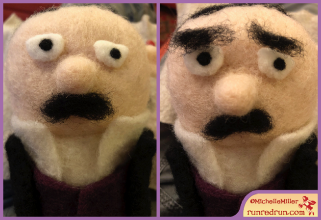 Needle Felted Edgar Allan Poe Eyebrow Run Red Run