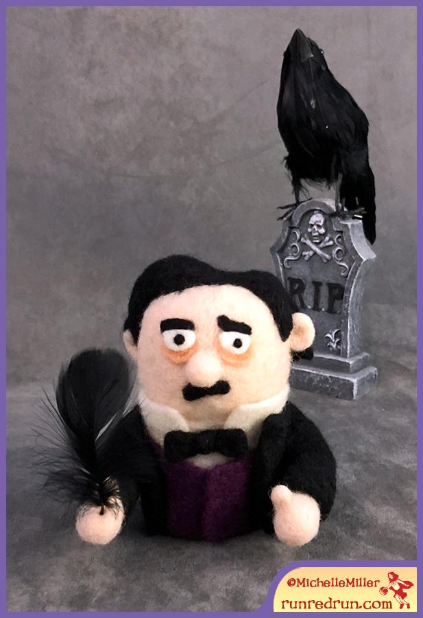 Needle Felted Edgar Allan Poe Run Red Run