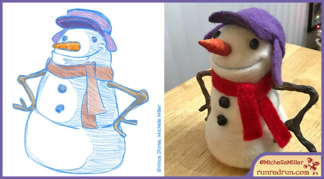 Run Red Run Needle Felted Snowman